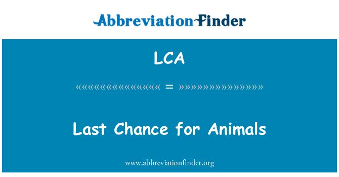 LCA: Last Chance for Animals
