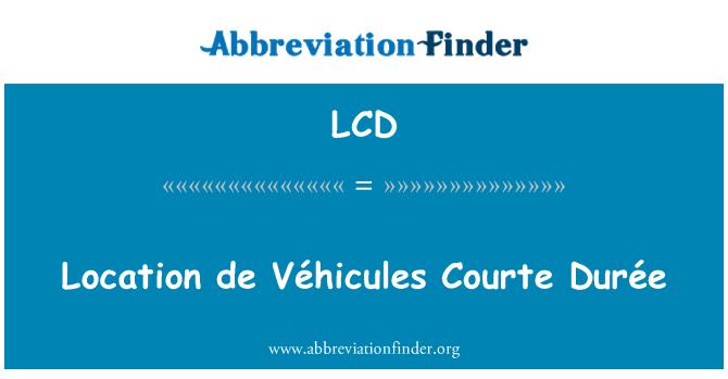 LCD: Location de Véhicules Courte Durée