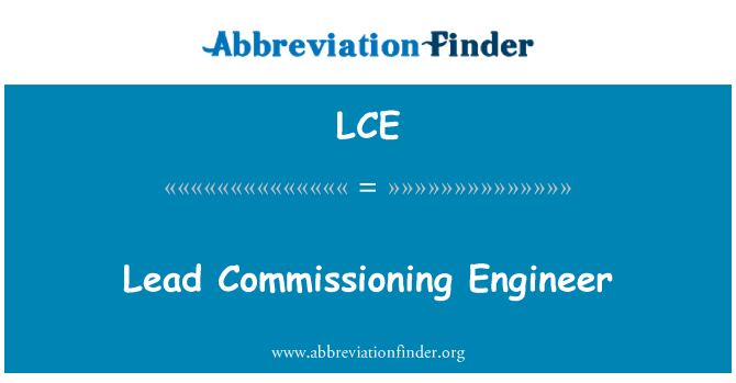 LCE: Lead Commissioning Engineer