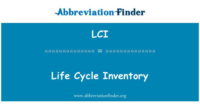 LCI: Life Cycle Inventory