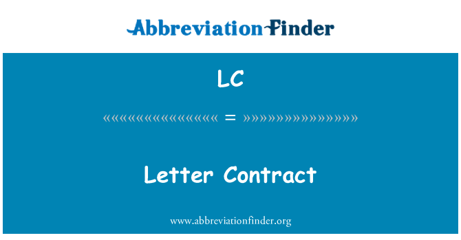 LC: Letter Contract