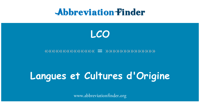 LCO: Langues et Cultures d'Origine