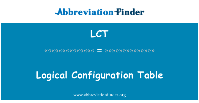 LCT: Logical Configuration Table