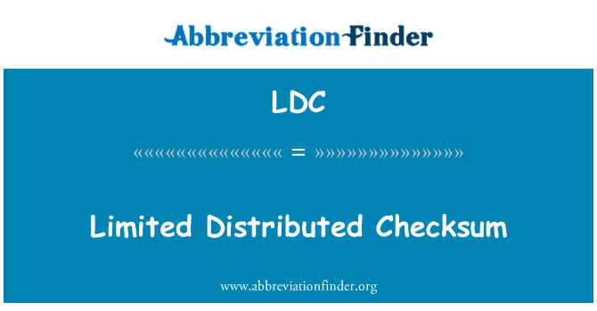 LDC: Limited Distributed Checksum
