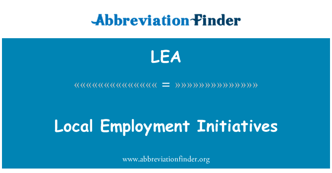 LEA: Local Employment Initiatives