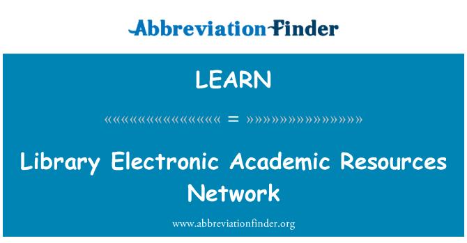 LEARN: Kütüphane elektronik akademik kaynaklara ağ