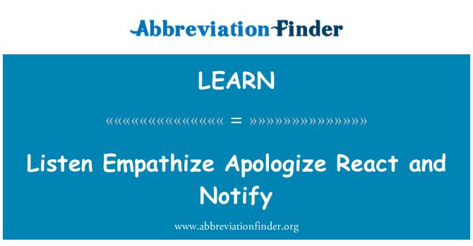 LEARN: Dinle empati özür tepki ve uyar