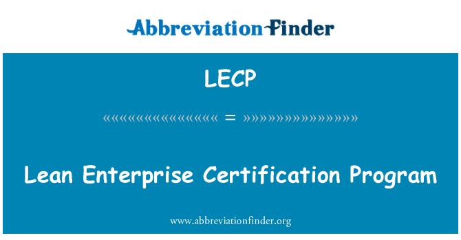 LECP: Lean Enterprise SERTIFITSEERIMISPROGRAMM