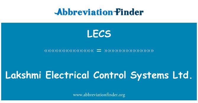 LECS: Lakshmi elektrik kontrol sistemleri Ltd.