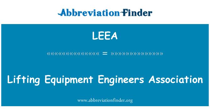 LEEA: لفٹنگ سازوسامان انجینئرز ایسوسی ایشن