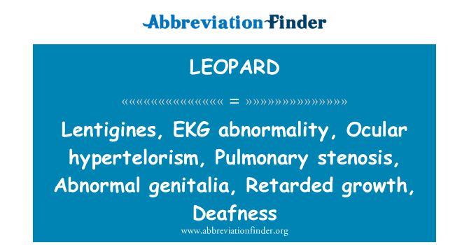 LEOPARD: Lentigines, EKG abnormality, Ocular hypertelorism, Pulmonary stenosis, Abnormal genitalia, Retarded growth, Deafness