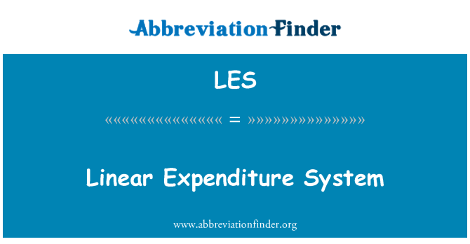LES: Linear Expenditure System