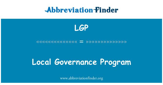 LGP: Local Governance Program