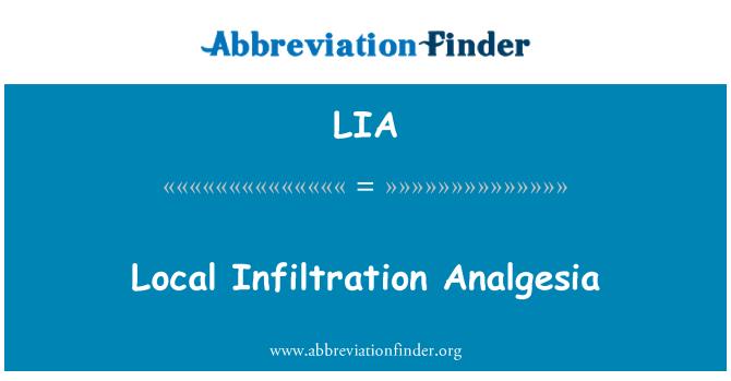 LIA: Local Infiltration Analgesia