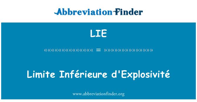 LIE: Limite Inférieure d'Explosivité