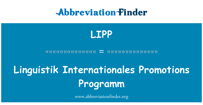 LIPP: Linguistik Internationales Promotions Programm