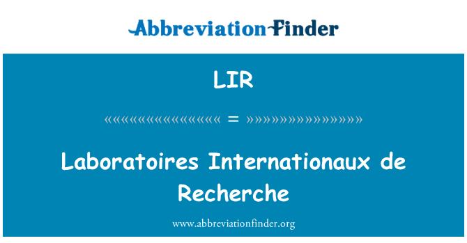 LIR: Laboratoires Internationaux de Recherche