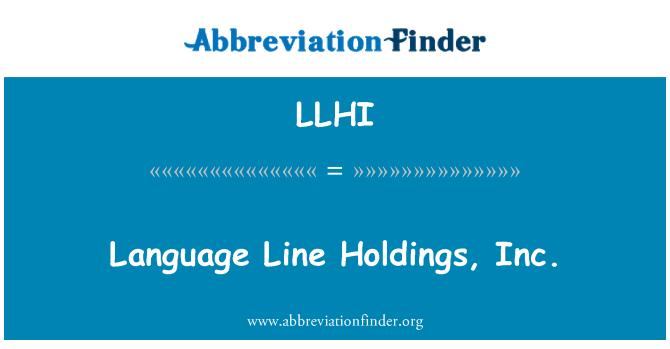 LLHI: Language Line Holdings, Inc.