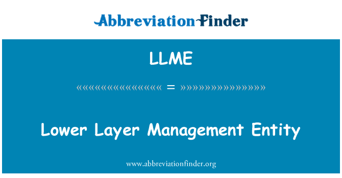 LLME: Lower Layer Management Entity