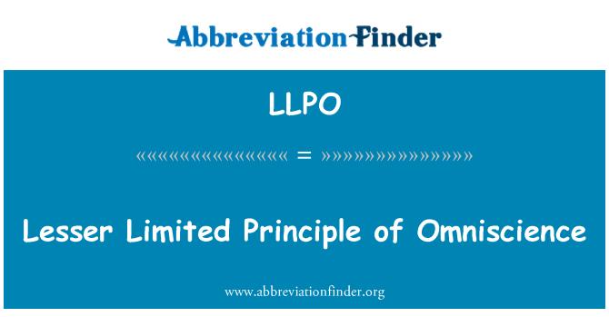 LLPO: 全知全能的小雅有限的原则