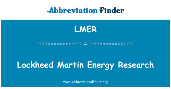 LMER: Lockheed Martin Energy Research