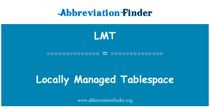 LMT: Locally Managed Tablespace