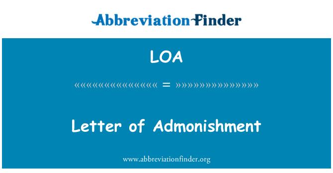 LOA: Letter of Admonishment