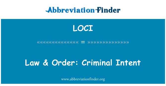 LOCI: Ley & orden: Criminal Intent