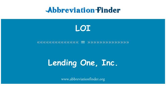 LOI: Lending One, Inc.