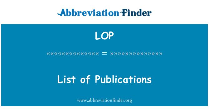 LOP: List of Publications