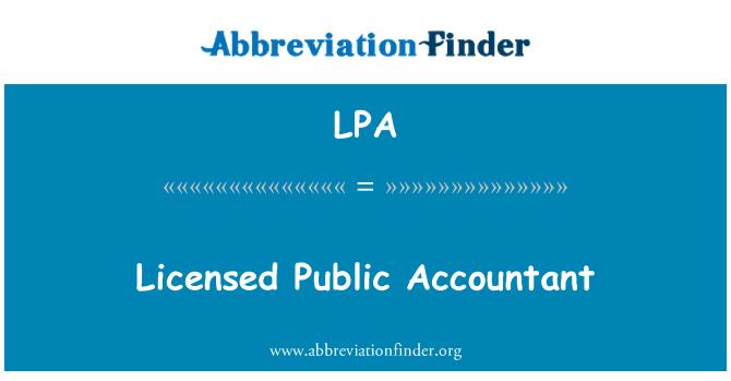 LPA: Licensed Public Accountant