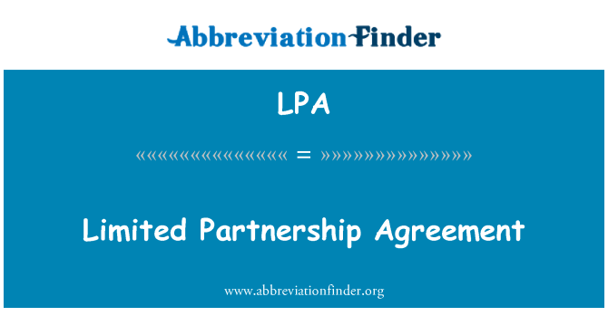 LPA: Limited Partnership Agreement