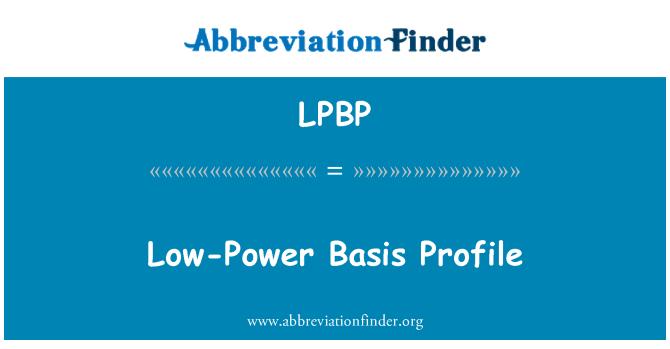 LPBP: Low-Power Basis Profile