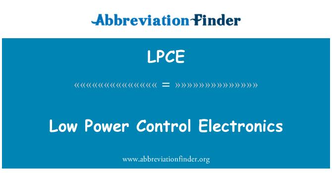 LPCE: Low Power Control Electronics