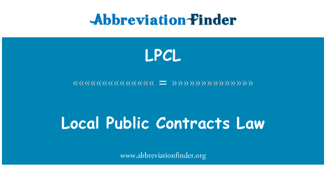 LPCL: Local Public Contracts Law