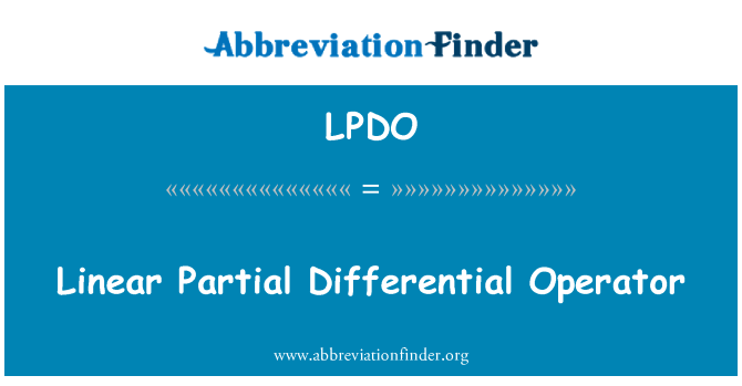 LPDO: Linear Partial Differential Operator