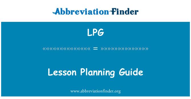 LPG: Lesson Planning Guide