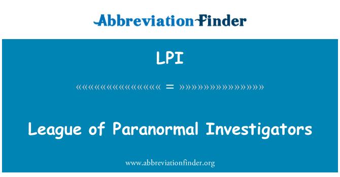 LPI: League of Paranormal Investigators