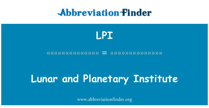 LPI: Lunar and Planetary Institute