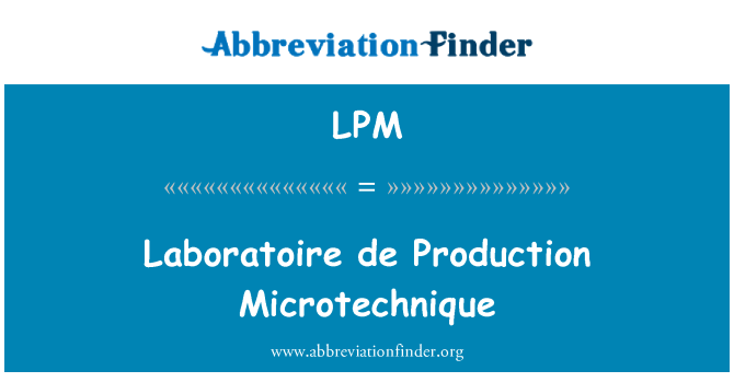LPM: Laboratoire de Production Microtechnique