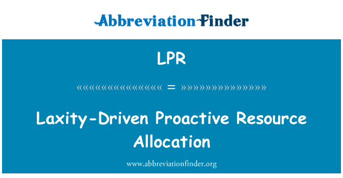 LPR: Laxity-Driven Proactive Resource Allocation