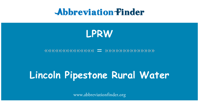 LPRW: Lincoln Pipestone Rural Water