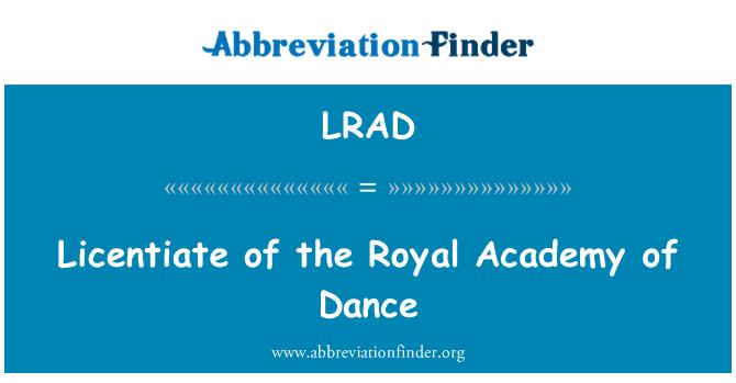 LRAD: Licenciado (a) de la Royal Academy of Dance