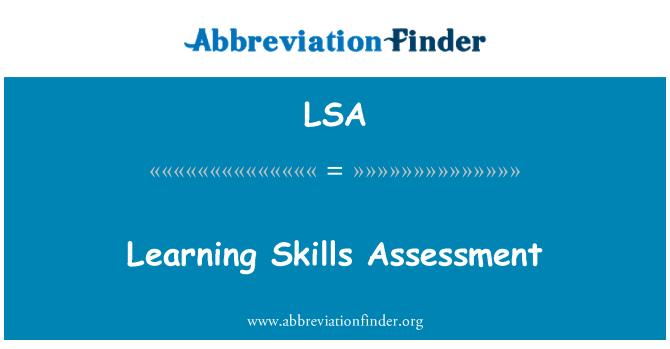 LSA: Learning Skills Assessment