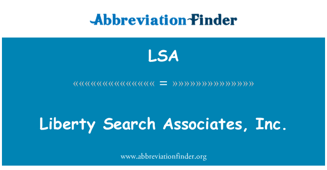 LSA: Liberty Search Associates, Inc.