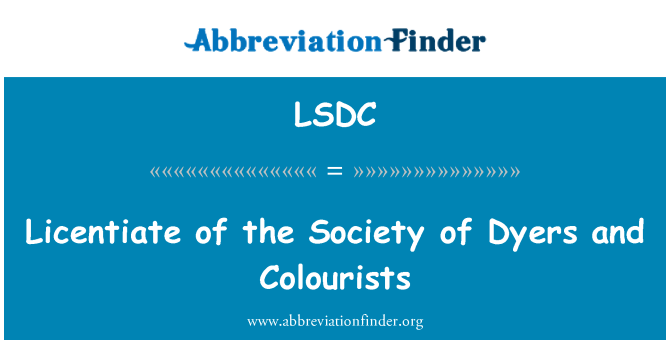 LSDC: Licentiate of the Society of Dyers and Colourists