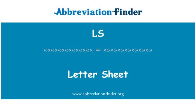 LS: Letter Sheet