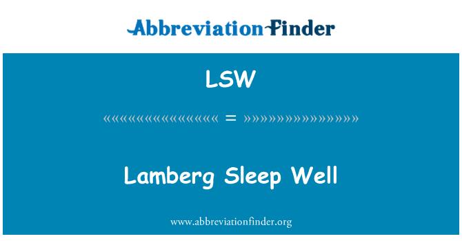 LSW: Lamberg Sleep Well