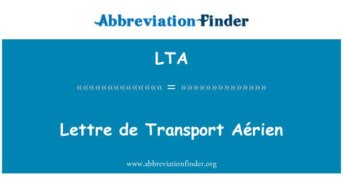 LTA: Lettre de Transport Aérien