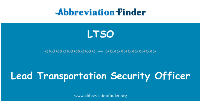 LTSO: Lead Transportation Security Officer